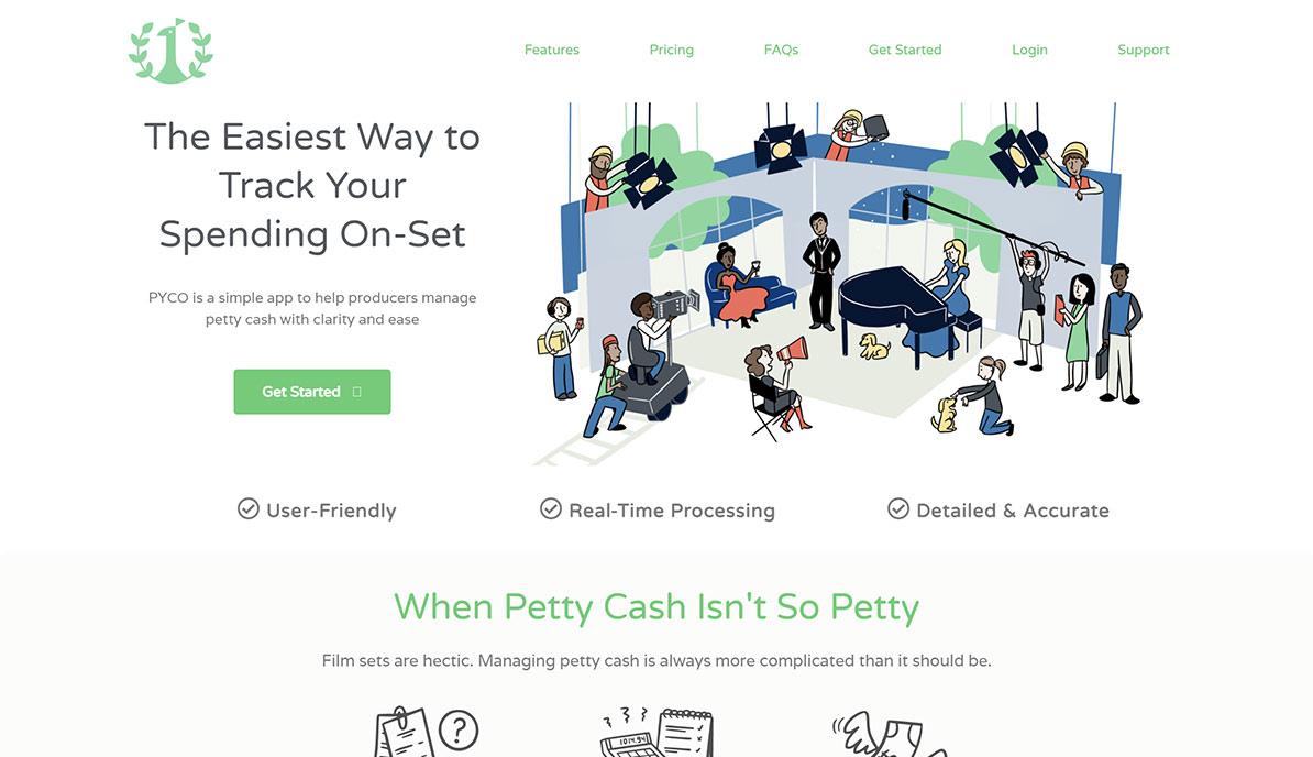 Screenshot of copywriting customer website